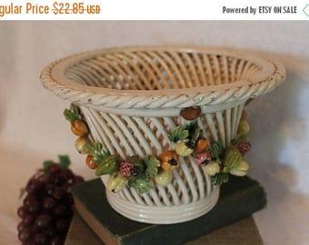 SALE Capodimonte Italian Ceramic Woven Basket Fern Holder with Applied Fruit Garland