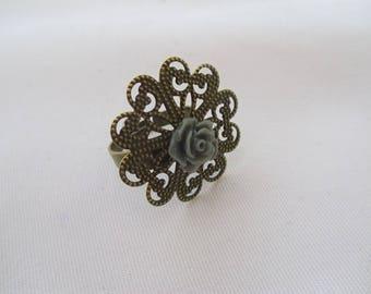 bronze flower ring gray