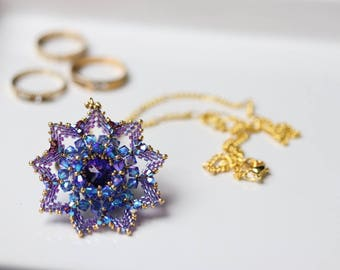 Sparkly Swarovski Blue and Purple Flower Pendant