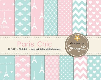 50% OFF Paris Digital Paper, Eiffel Tower Pris Chic Printable Digital Background Papers, Fleur, Pink and Black Paper for Birthday etc