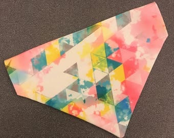 Geometric watercolor slip on pet bandana
