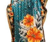 Plus Size Paisley Floral SummerFestival Print Drawstring Batwing Sleeve Kaftan Green
