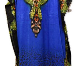 Plus Size Abstract Snake Skin Summer Print Drawstring Batwing Sleeve Kaftan Blue