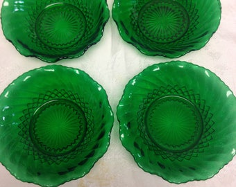 "Forest Green ""Diamond Swirl"" Bowls by Anchor Hocking - Set of 4"