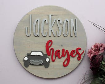 Vintage Car Nursery Decor, Baby Shower Gift, Boy Nursery Name Sign, Round Wood Sign, Automobile Nursery, Wood Cutouts, Classic Car Nursery