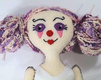 Cookie The Clown Girl, Clown Doll, Rag Doll, Cloth Doll, Creepy Doll, Cute Doll, Handmade Doll, Hand Embroidered Doll, Circus Doll, Plush