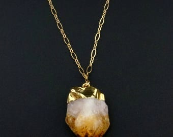 Citrine Crystal // Raw Citrine Necklace // Gold Citrine // November birthstone // Citrine Crystal Necklace // Citrine Necklace