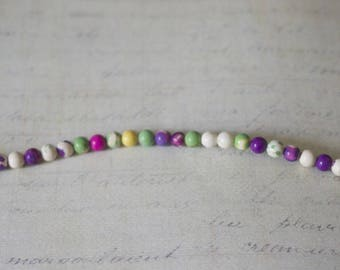10 small round agate beads multicolor 4mm