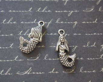 2 charms silver metal 22 Mermaid 5x12mm