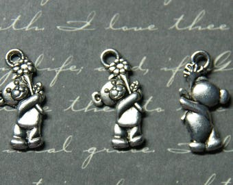 Teddy bear and 9 silver metal flower, 2 charms 5x19mm