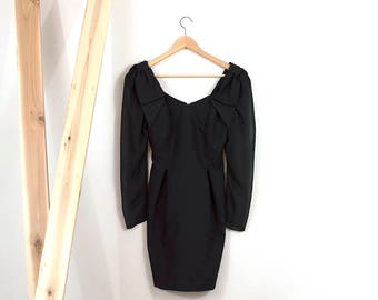 80s Big Bow Lil Black Dress / Sheer Sleeve Mini Dress / Extra Small - Small