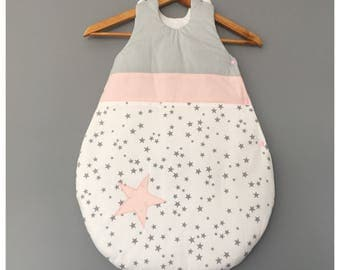 Baby girl 0-6 months grey baby sleeping bag pink and white with stars