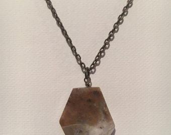 Agate stone pendant on a bronze chain