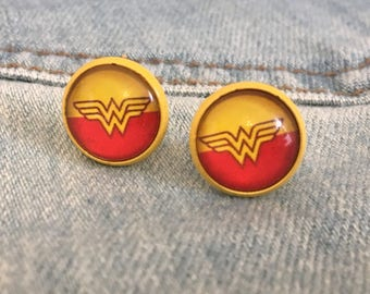 wonder woman earrings, glass studs, cabochon studs, wonder woman, tiny cute sweet cabochon studs
