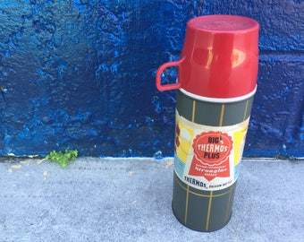 Vintage Big Thermos Plus Vacuum Bottle Red Gray Grey Gold Silver Triple Seal Stopper 1961 Made in America With Original LabelA-20-2T Camping