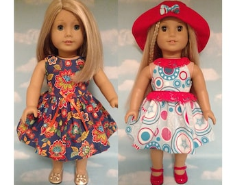 18 inch Girl Doll Clothing, handmade to fit like American Girl Doll clothes (Dress blue w/ flowers or blue/red d-26ab