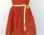 Christmas Dress, red with gold.
