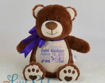 Personalized Brown Bear, Birth Stats Bear, Name Bear, Embroidered Bear, Keepsake Bear, Memorial Bear, Brown Bear Teddy, Little Elska