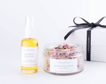 Hopscotch Nourish Skincare Gift Box — Bath Salts and Body Oil — All natural vegan skincare gift for Mum, gift set for sister, thank you gift