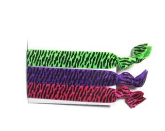 Zebra Print Hair Ties, Womens Hair Ties, Animal Print Hair Ties, Hair Tie Set, Ponytail Holders