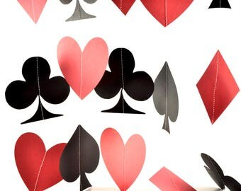 Poker Night Garland, Alice in Wonderland, Casino Decor, Poker Night Decorations, Playing Cards, Casino Party, Poker Party Decorations