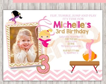 50%Off GYMNASTIC Gold and Pink Photo Invitation, Gymnastic Birthday Invitation, Gymnastic Invitation, Gymnastic Party, Gymnastic invite, Gym