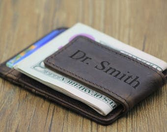 Personalized Money Clip Wallet, Minimalist Wallet, Super Thin Wallet, Engagement Gifts, Christmas Gift, Leather Card Holder, Money Clip