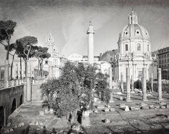 Rome Photography, Black and White, Ruins, Church, Rome Print, Travel Decor, Italy, Europe, Wall Art, Rome Italy