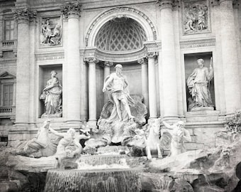 Trevi Fountain, Rome Italy Print, Rome Wall Art, Black and White Photography, Travel Decor, Europe Wall Art, Italy Photography