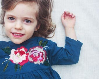 Toddler girl cheese cloth dress with hand embroidery peonies, summer long sleave dress