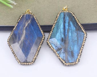 5pcs Natural Labradorite Stone Druzy Pendant Beads,with Rhinestone Paved Gemstone Pendant,For Jewelry Making