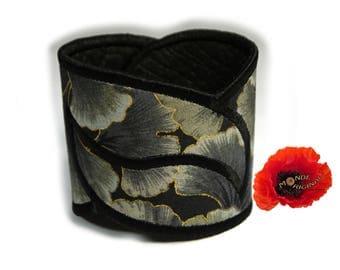 Cuff Bracelet harmony in grey black Japanese fabric