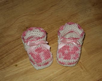 Pair of booties, birth, white cotton christening keepsake gift and Heather pink