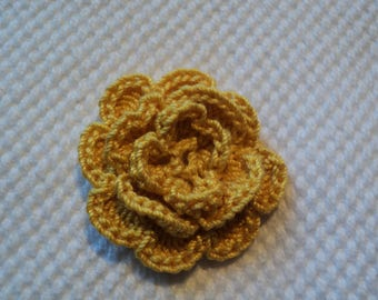 10 flowers yellow ochre to CROCHET for SCRAPBOOKING Ø 3.5 cm ref: z37