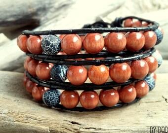 Bracelet wrap 3 turns Man, black leather, brown wood hazelnut, Black Fire Agate ,Boho  jewelry , By Dodie