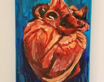 Heart Acrylic Painting --- 5x7 --- Stretched Cotton Canvas --- Kickstart My