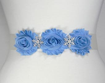 Snowflake Bridal Belt, White Wedding Belt, Bridal Sash, Wedding Sash Belt, Flower Girl Dress Belt, Crystal Rhinestone Flower Sash Belt SNOWY