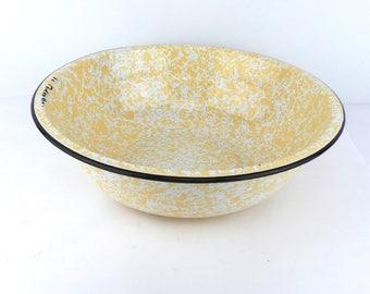 Vintage Spatterware Bowl, Enamelware Bowls, Camping Equipment, Vintage Camping, Enamel Plates, Graniteware, Yellow Spatter Ware