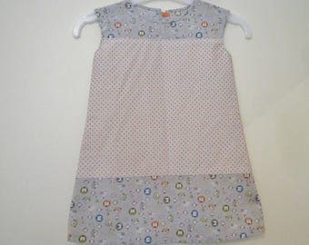 Dress gray with orange polka dots and penguins, size 9-12 months