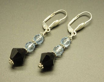 Blue and black faceted beads earrings