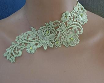 lime green lace rhinestone wedding Choker necklace