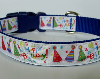 Happy Birthday Party Hat Dog Collar - Blue - Ready to Ship!