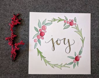 Joy Wreath Watercolor