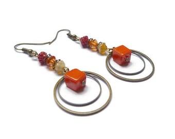 Earrings retro shades of yellow orange