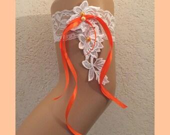 Orange and ivory lace wedding garter * lace * custom