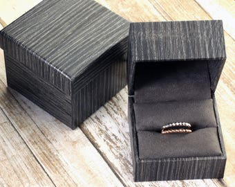 Single Engagement Wedding Ring Band Presentation Gift Box, Faux Wood Grain
