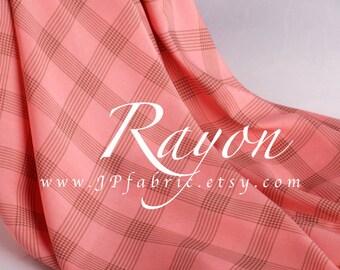 Pink Challis Rayon Checked fabric