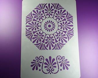 Stencil Palmette Rosette 2 ornaments Floral-BO79