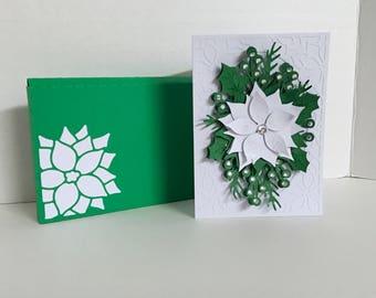 3D Poinsettia Card Set , White , Red , Rhinestones , Pop-Dot , Christmas , Holiday , Winter , Flower