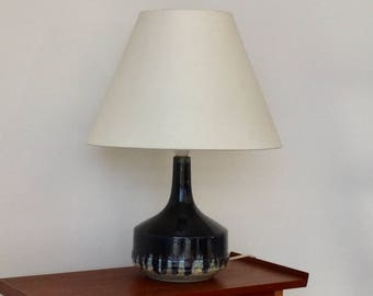 1960's handmade and signed Danish ceramic table lamp / pottery lamp with lampshade. Retro decor.